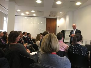 Foundation Future Leaders in discussion with Lord Willetts, Chair of the Foundation for Science and Technology, during a visit to Parliament, October 2019.